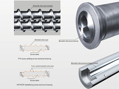 Bimetallic screw barrel